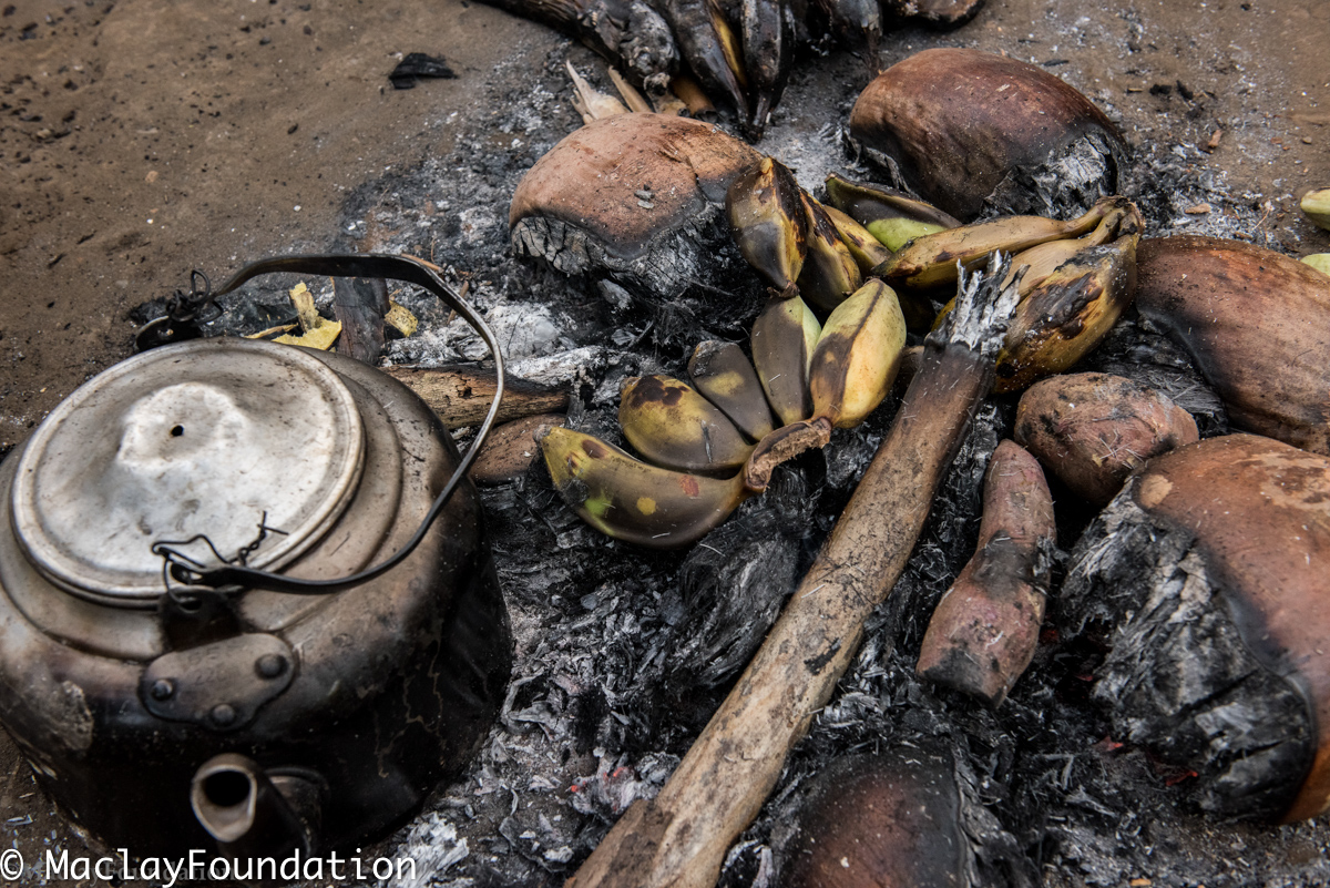 Готовящиеся на костре бананы и корнеплоды